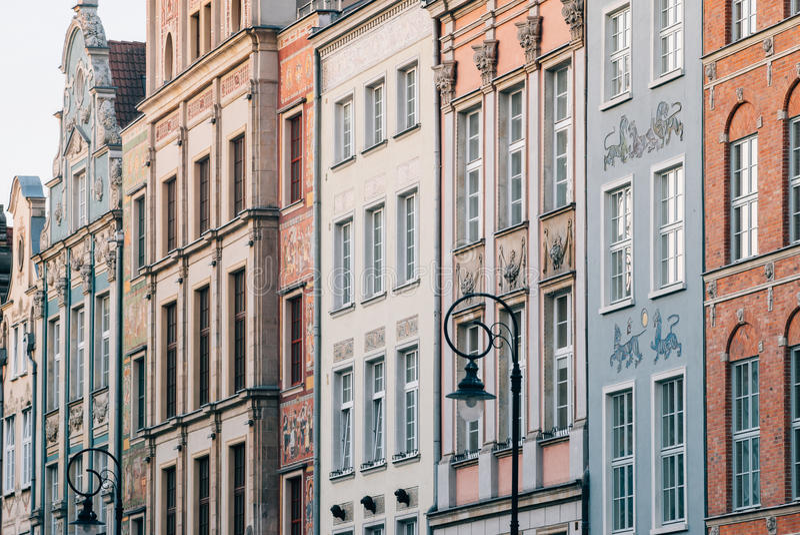 格但斯克市老镇美好的建筑学  免版税库存图片
