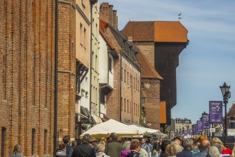 格但斯克老市全景,波兰 免版税图库摄影