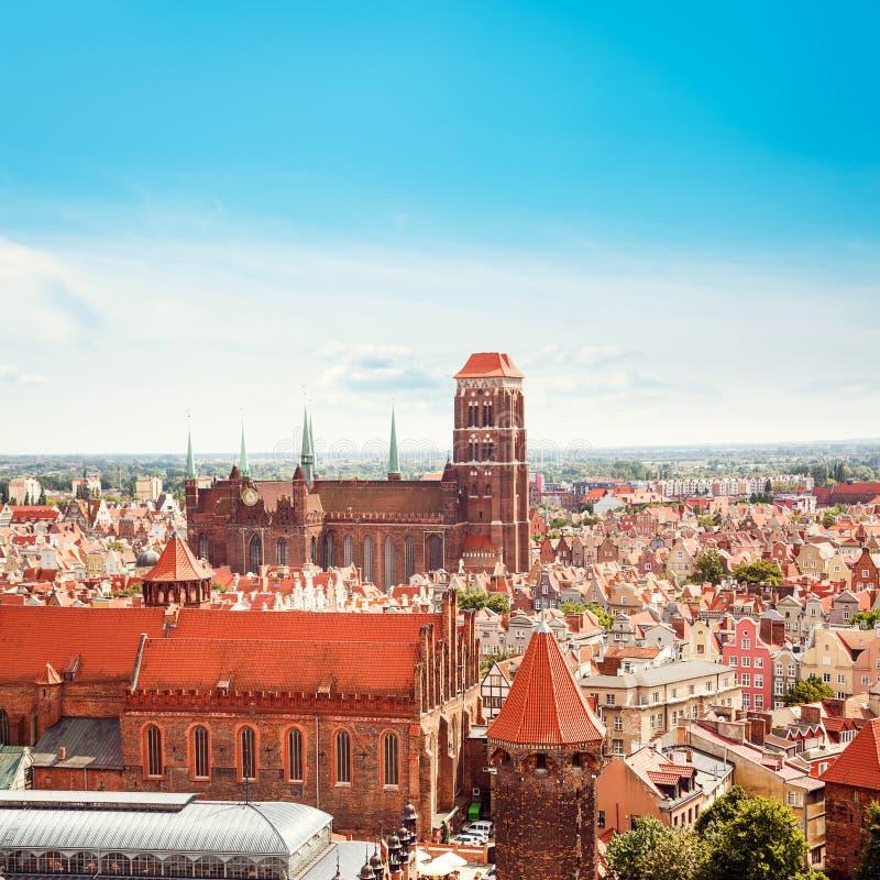 格但斯克老镇顶视图 波兰,欧洲 库存照片