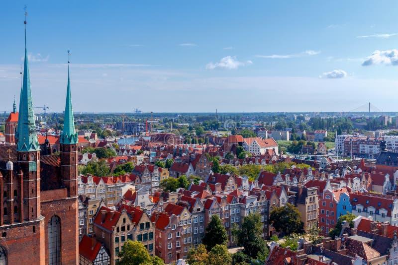 格但斯克 格但斯克 空中城市视图 库存图片