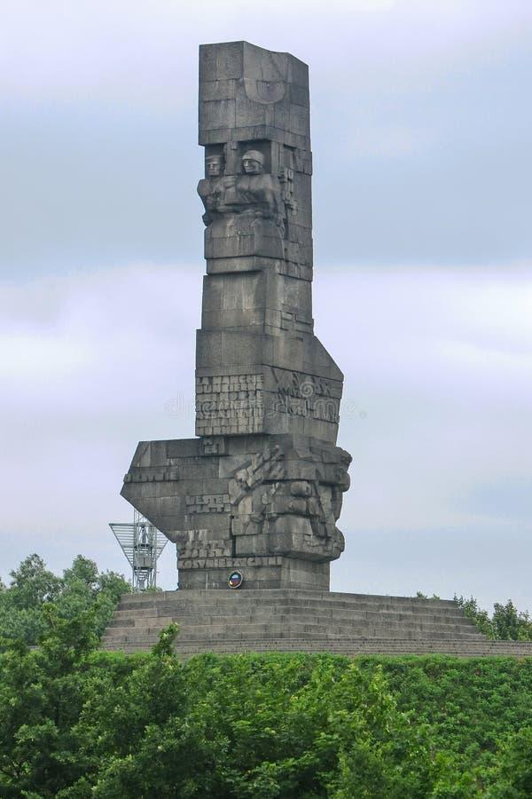 格但斯克/波兰- 6月30 2009年:在著名Westerplatte纪念碑的看法 库存照片