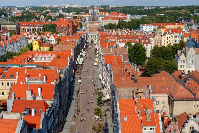 格但斯克 格但斯克 空中城市视图 库存照片