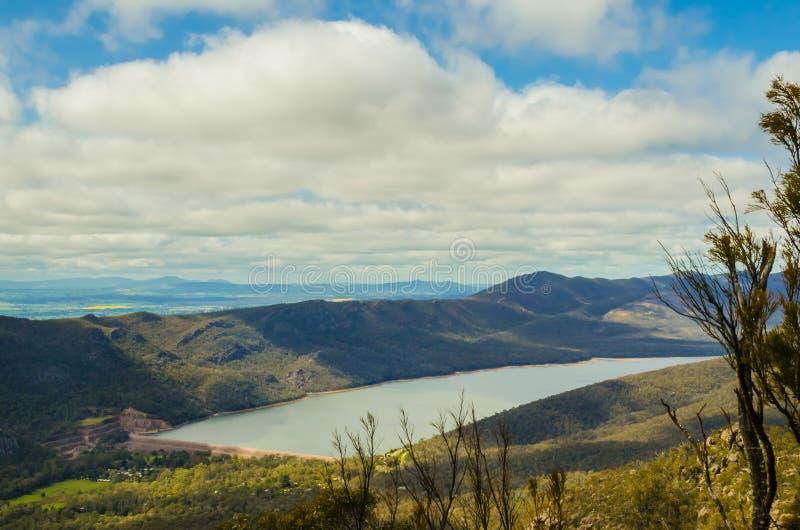 格兰皮安斯贝尔菲尔德湖的鸟瞰 库存图片
