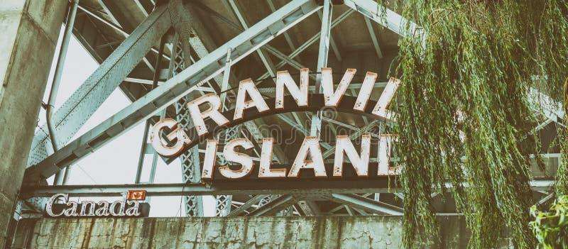 格兰维尔海岛市场入口,温哥华, BC -加拿大 库存照片