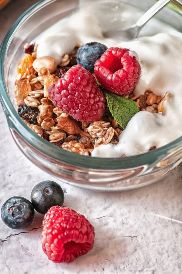 格兰诺拉麦片和野生莓果干早餐  库存图片