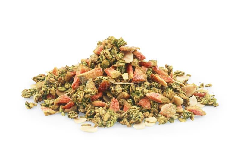 格兰诺拉麦片musli堆、堆,各种各样的种子和莓果,谷物,身体好的五谷 免版税图库摄影
