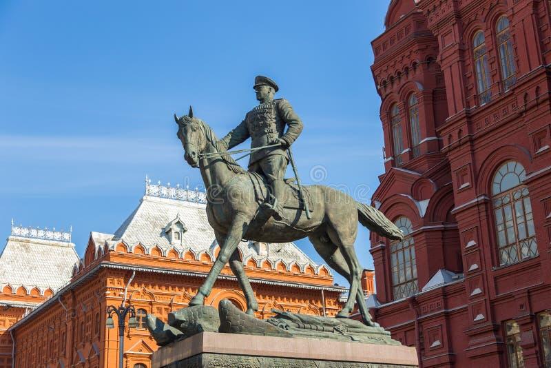 格奥尔基・康斯坦丁诺维奇・朱可夫,苏维埃红军莫斯科,俄罗斯将军的,纪念碑马的 免版税库存照片