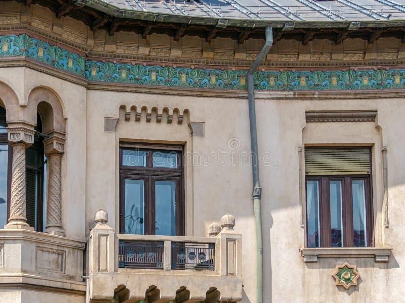格奥尔基Petrascu议院,布加勒斯特,罗马尼亚门面  免版税库存照片