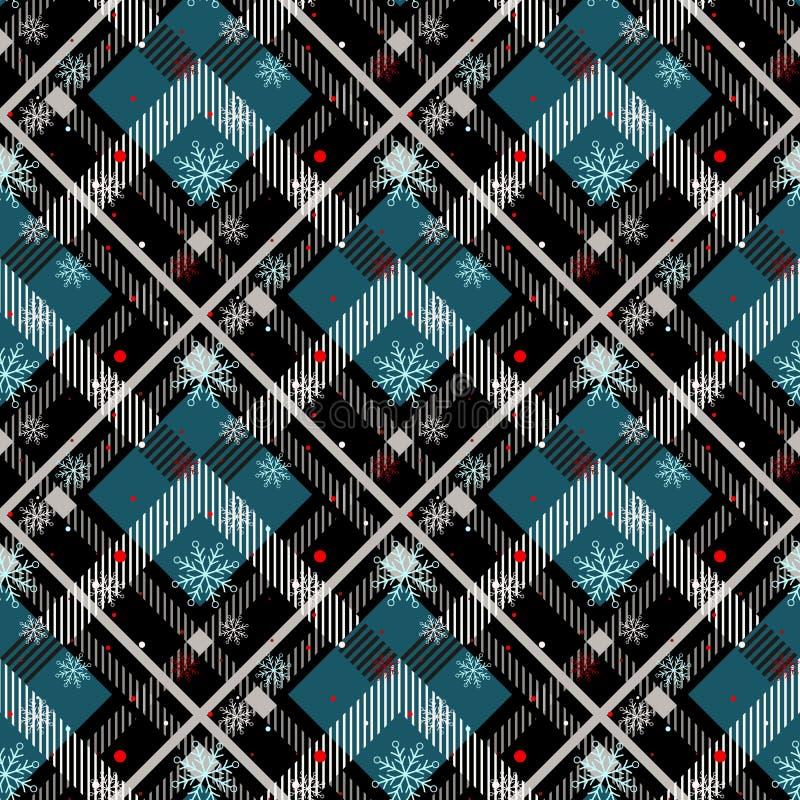 格子呢无缝的样式背景 有雪花的,格子呢法绒衬衣样式红色,黑,蓝色,米黄和白色格子花呢披肩 时髦 皇族释放例证