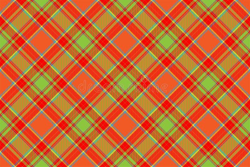 格子呢苏格兰无缝的格子花呢披肩样式传染媒介 减速火箭的背景织品 葡萄酒检查颜色正方形几何纹理 向量例证