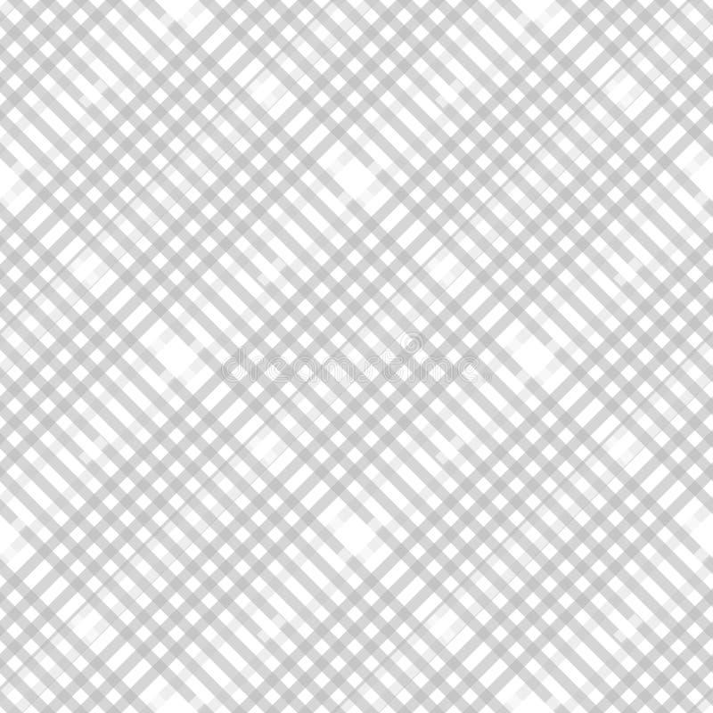 格子花呢披肩在淡色灰色的检查样式,多灰尘米黄和白色 织品无缝的纹理 对角印刷品 向量例证