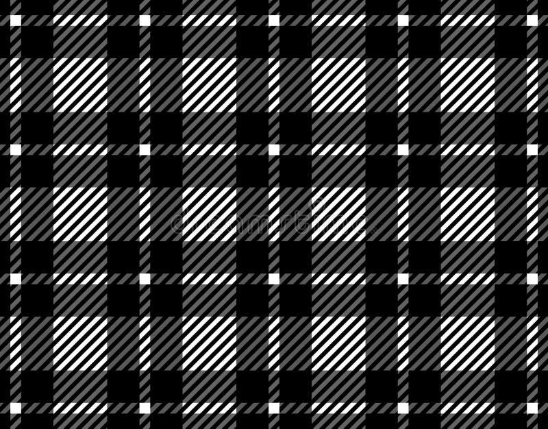 格子花呢披肩的,纺织品文章的,例证桌布黑白方格花布样式背景 Eps10 库存例证
