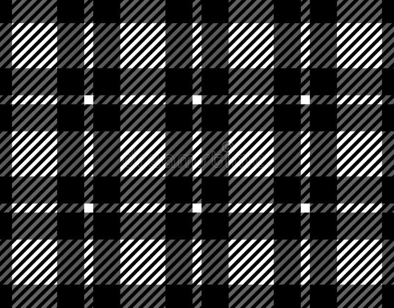格子花呢披肩的,纺织品文章的,例证桌布黑白方格花布样式背景 Eps10 向量例证