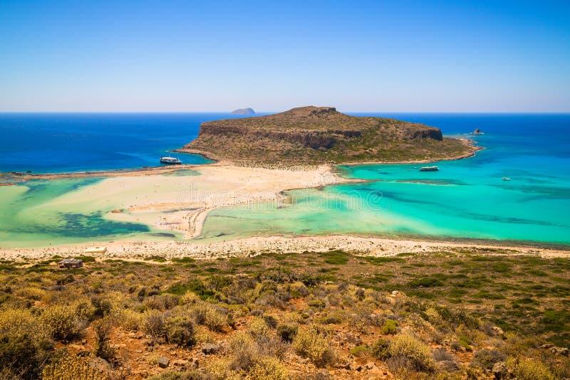 格拉姆武萨群岛海岛和Balos盐水湖,克利特,希腊 库存照片