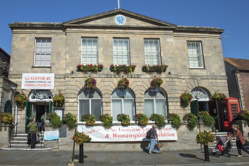 格拉斯顿伯里,英国城镇厅  库存图片