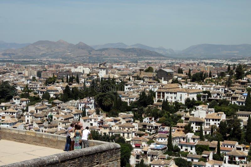 格拉纳达的看法从阿尔罕布拉的 库存照片