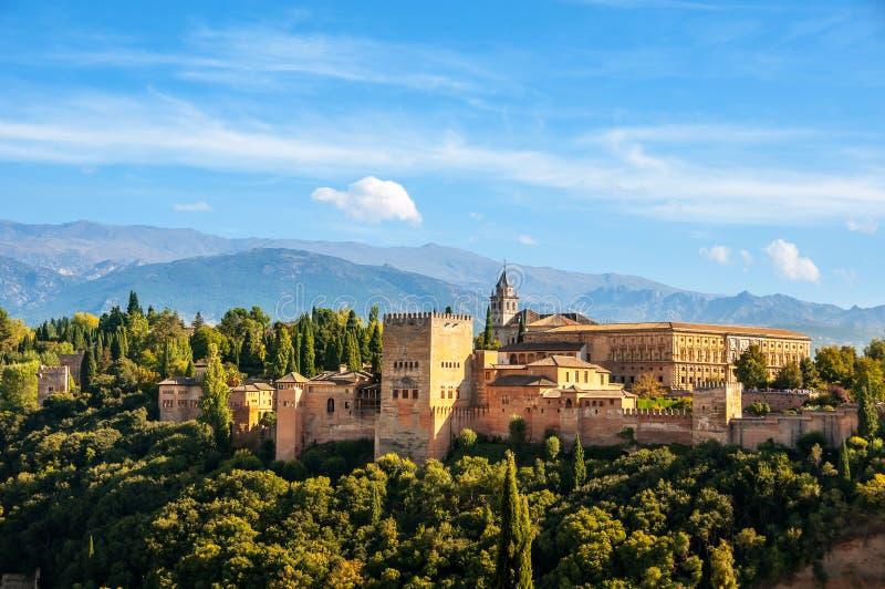 格拉纳达西班牙 阿尔罕布拉宫宫殿鸟瞰图  免版税图库摄影