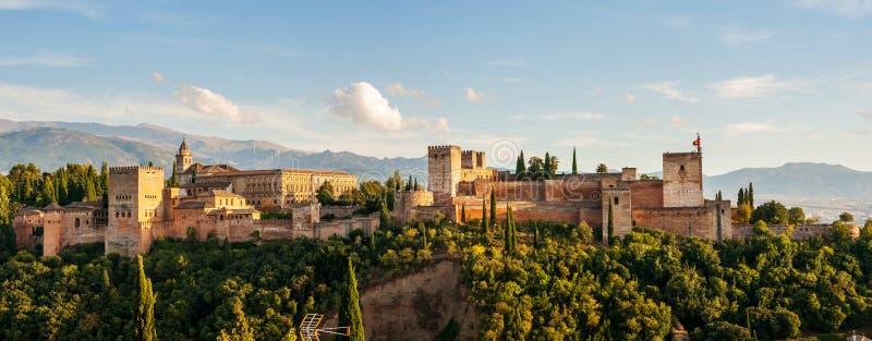 格拉纳达西班牙 阿尔罕布拉宫宫殿鸟瞰图  免版税库存图片