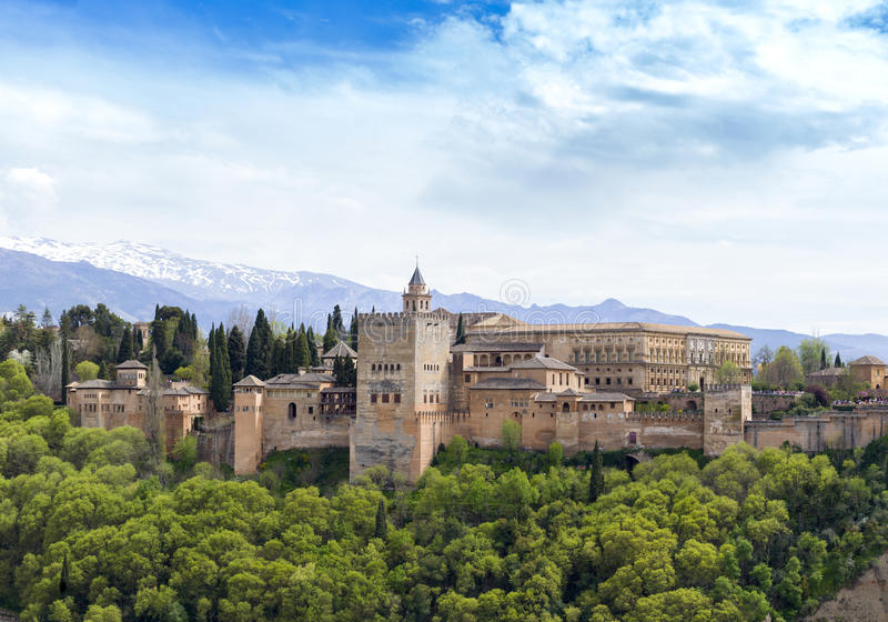 格拉纳达,安大路西亚,西班牙阿尔罕布拉宫宫殿  2015年4月 免版税库存照片