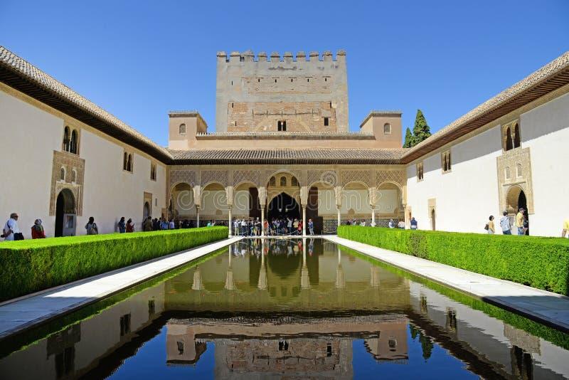 格拉纳达,西班牙- 2017年5月6日:阿尔罕布拉宫,格拉纳达,西班牙 Nasrid宫殿帕拉西奥斯Nazaraà 'Âes在阿尔罕布拉宫堡垒 库存图片