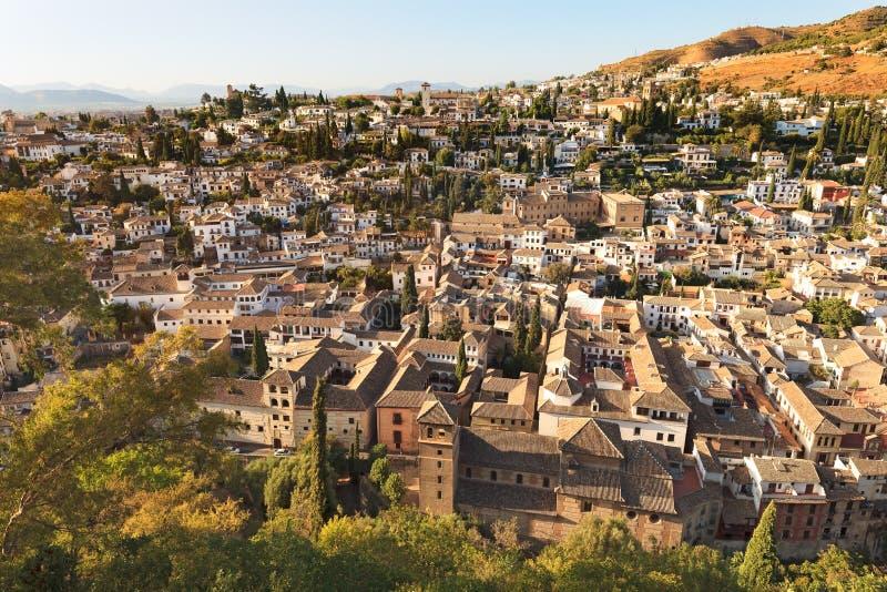 格拉纳达, Albaicin鸟瞰图。 安大路西亚,西班牙 图库摄影