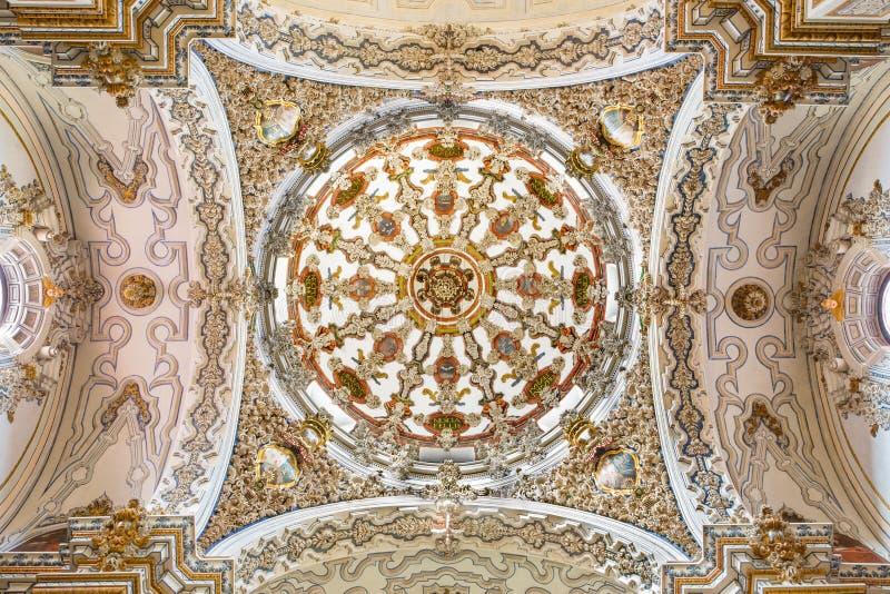 格拉纳达-巴洛克式的圆屋顶在Iglesia de圣安东教会里从18的阿方索卡斯蒂略 分 免版税库存图片