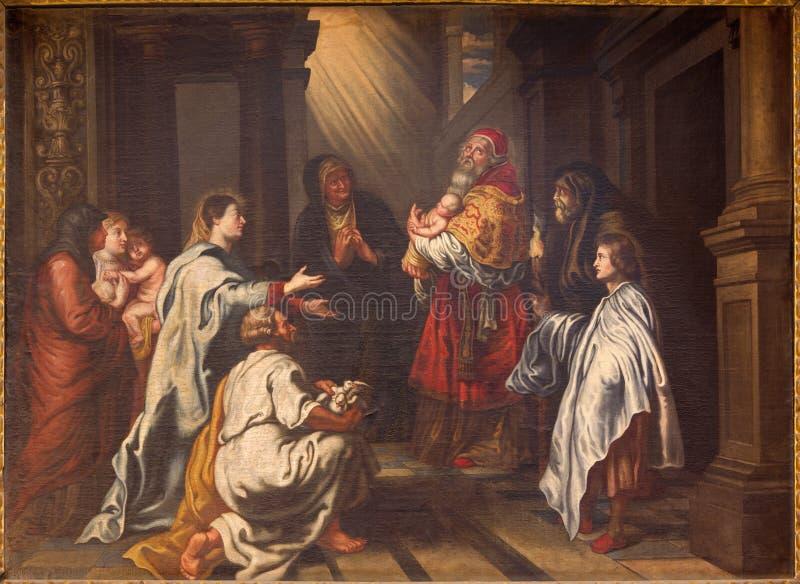 格拉纳达-基督的介绍寺庙绘画的由磨损处胡安桑切斯Cotan在教会莫纳斯特里奥de la Cartuja里 免版税库存图片