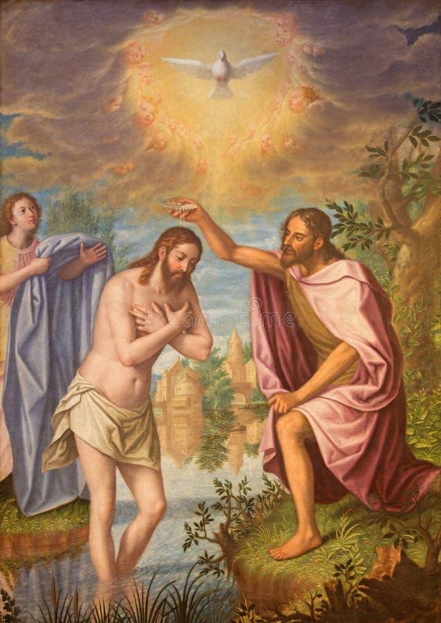 格拉纳达-基督绘画洗礼在教会莫纳斯特里奥de由磨损处胡安桑切斯Cotan的la Cartuja主要教堂中殿(1560 - 1627) 库存照片