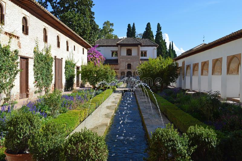格拉纳达-帕拉西奥de赫内拉利费宫-阿尔罕布拉宫宫殿 库存图片