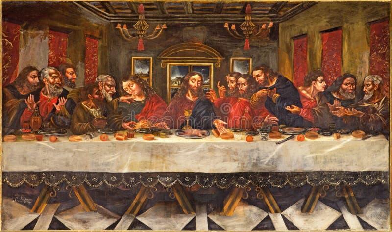格拉纳达-最后的晚餐绘画胡安de塞维利亚罗梅罗(1643 - 1695)在教会莫纳斯特里奥de圣Jeronimo餐厅  免版税库存照片