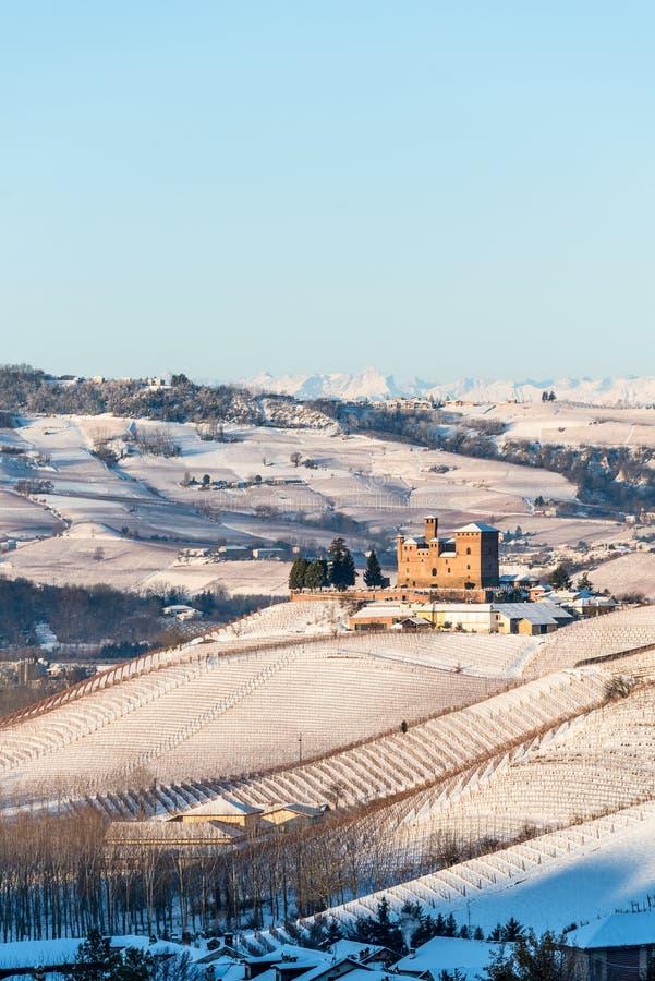 格林扎内卡武尔城堡和山在北意大利, langhe r 免版税库存照片