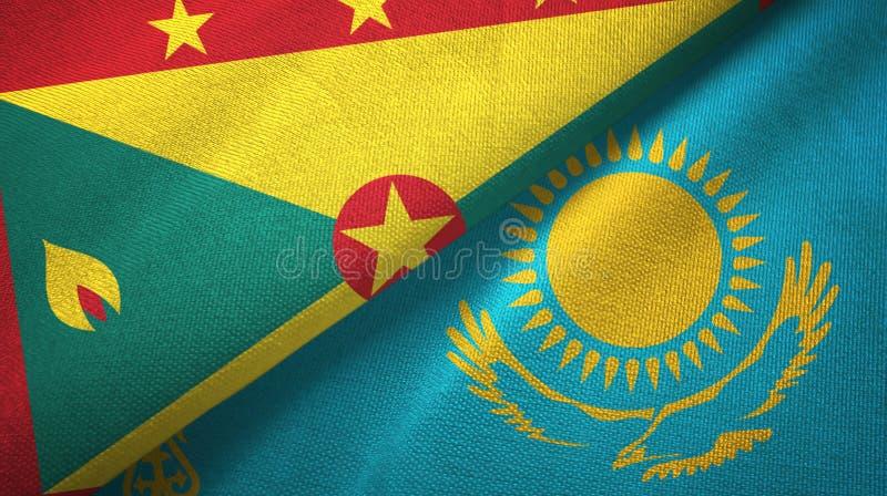 格林纳达和哈萨克斯坦两旗子纺织品布料,织品纹理 库存例证