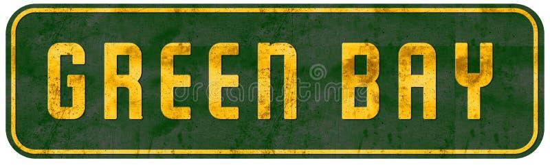 格林贝威斯康辛路牌黄色和绿色 免版税库存照片