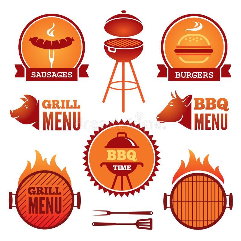 格栅和BBQ 向量例证
