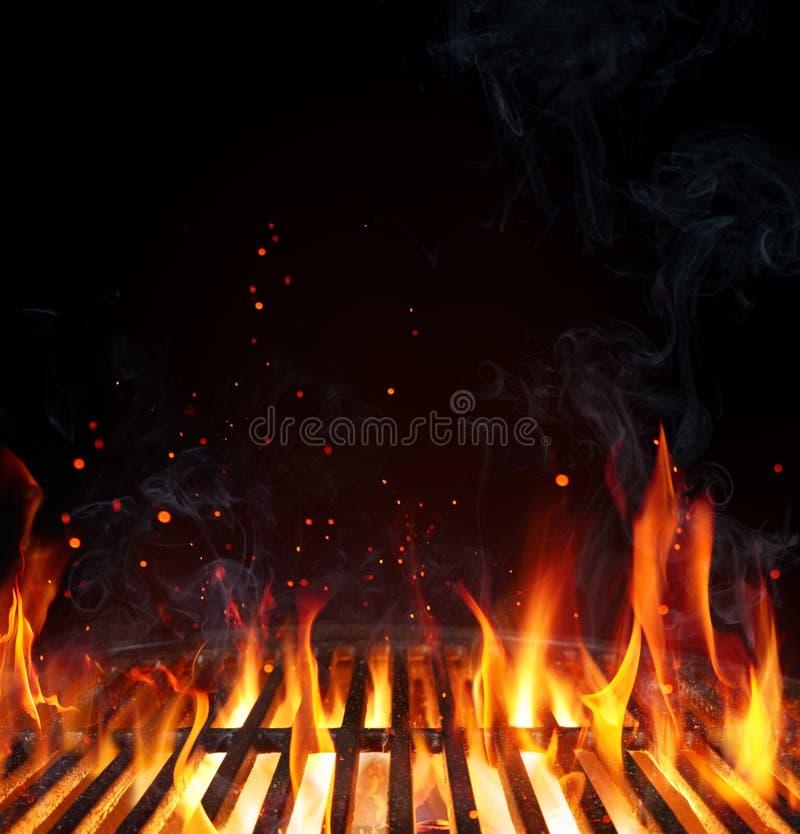 格栅背景-倒空被射击的烤肉 免版税库存照片