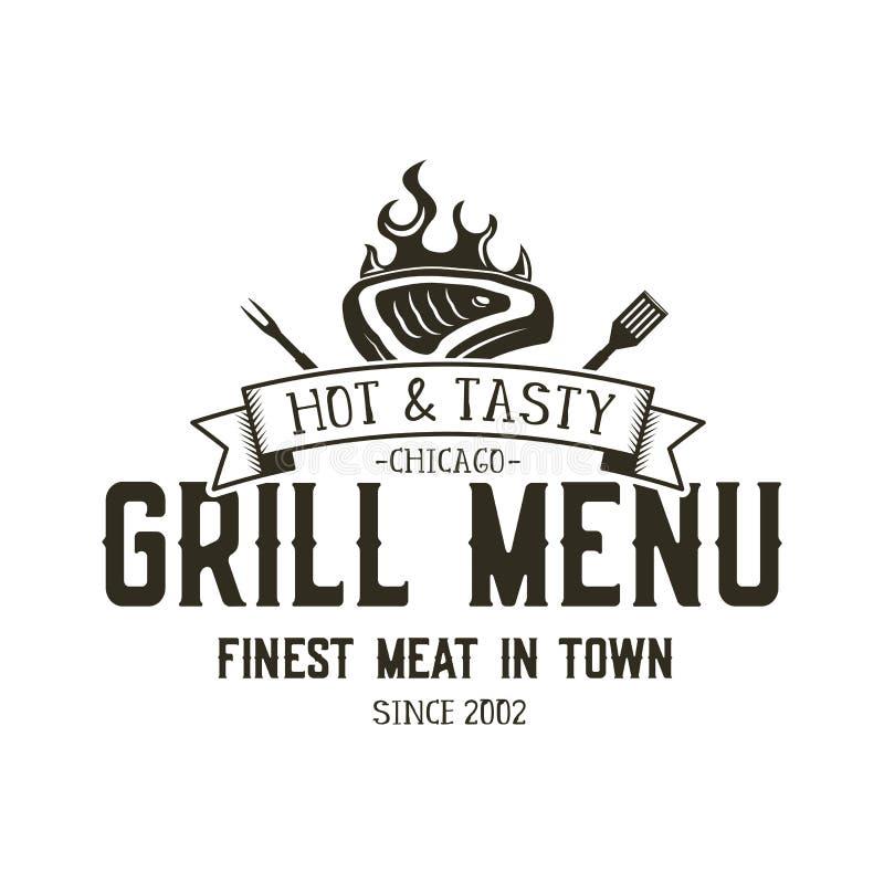 格栅菜单象征模板 牛排餐厅餐馆与bbq标志的商标设计-肉,火,烤肉工具 葡萄酒 向量例证