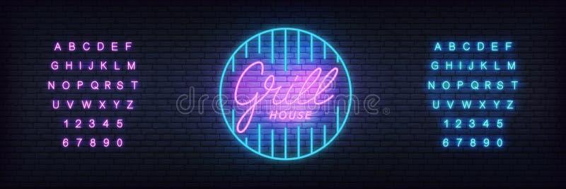 格栅霓虹模板 发光在格栅酒吧的,客栈,餐馆房子标志上写字 库存例证