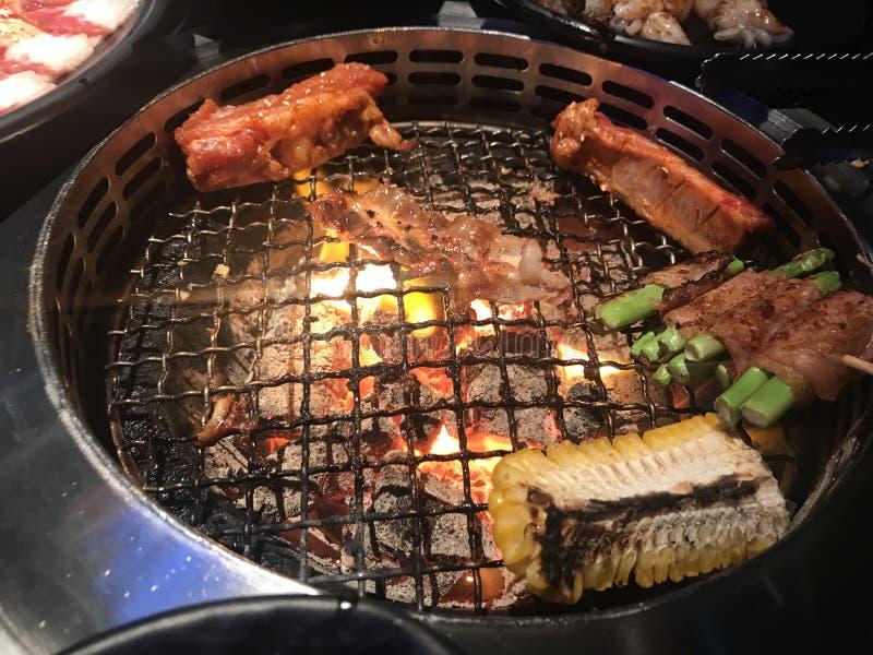 格栅BBQ泰国曼谷餐馆 免版税库存图片