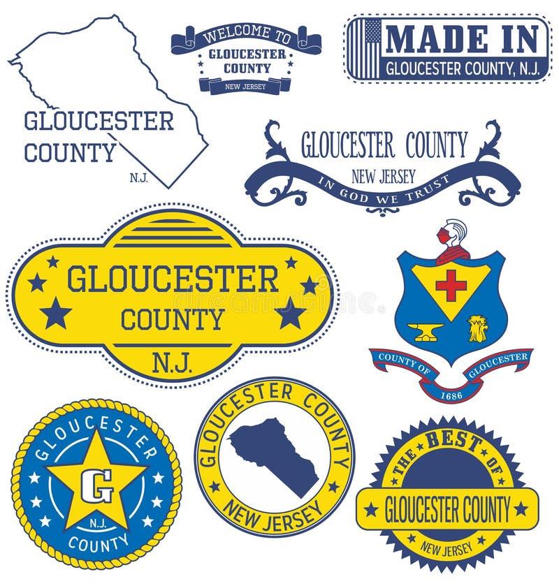 格洛斯特县, NJ 套普通邮票和标志 向量例证