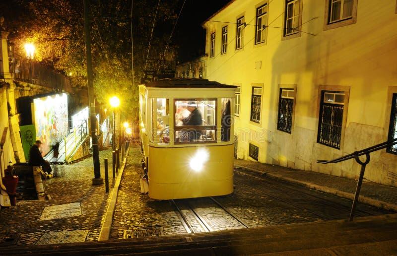 格洛里亚电车在晚上 免版税库存照片