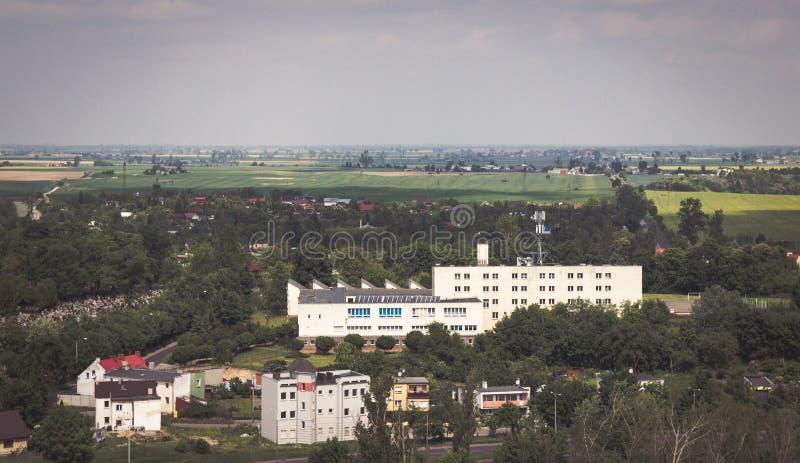 格涅兹诺,波兰-城市全景的看法格涅兹诺的 免版税库存图片