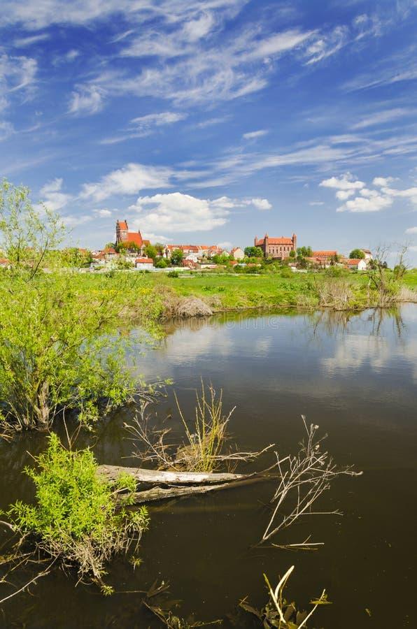 格涅夫美丽如画的风景在Wierzyca河的在波兰 库存照片
