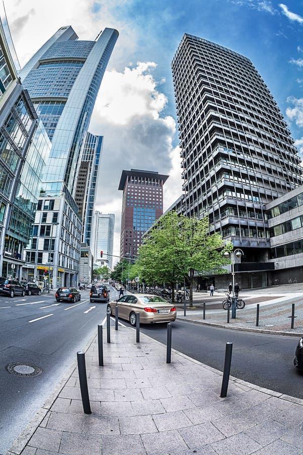 格罗斯Gallusstrasse街道的未来派看法 免版税图库摄影