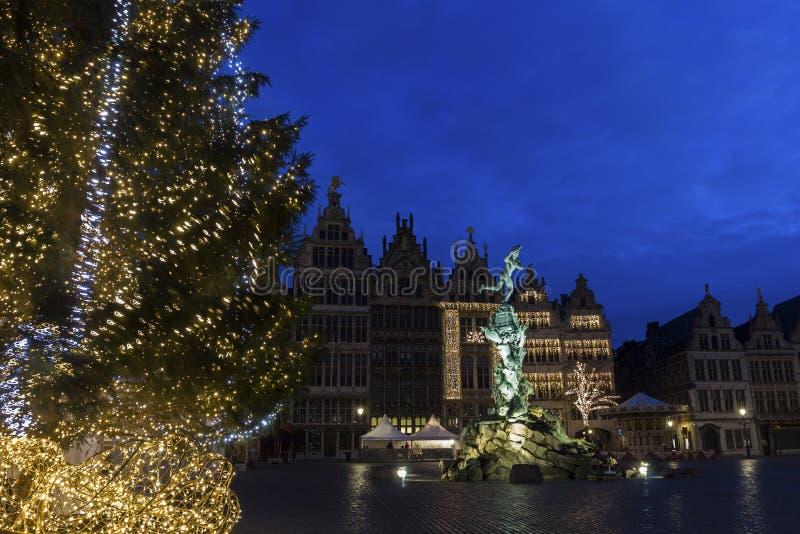 格罗特Markt在安特卫普在比利时 免版税库存图片