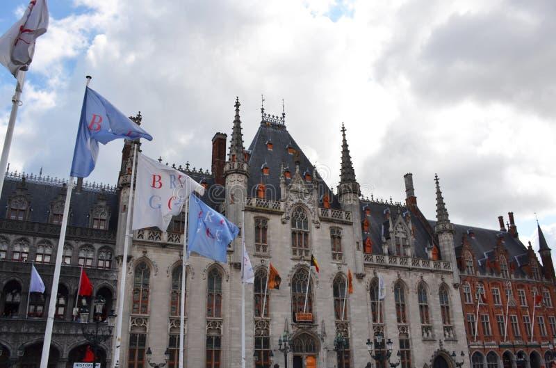 格罗特Markt广场在中世纪城市布鲁基,富兰德,比利时 免版税库存图片