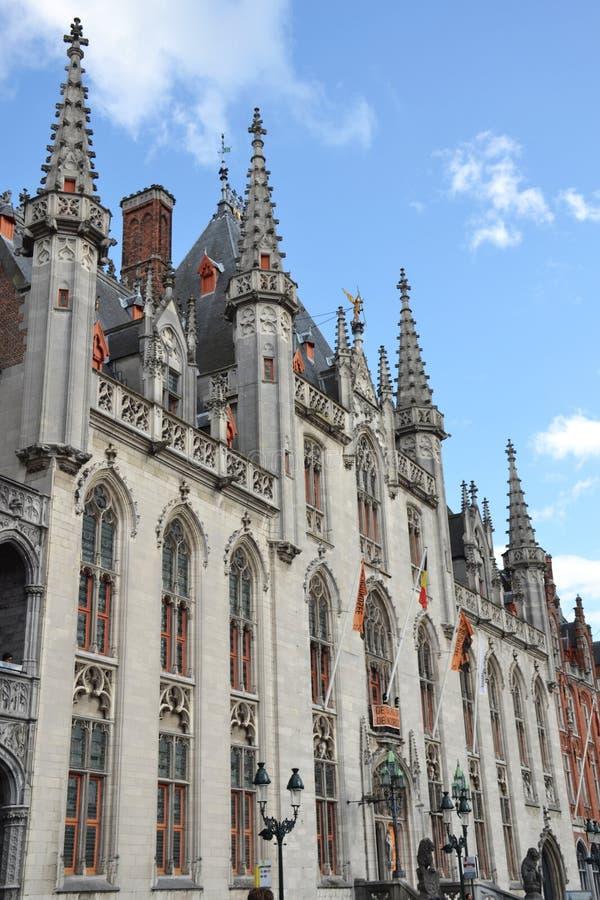 格罗特Markt广场在中世纪城市布鲁基,富兰德,比利时 免版税图库摄影