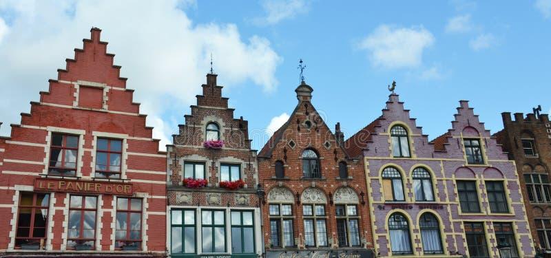 格罗特Markt方形大厦在中世纪城市布鲁基,富兰德,比利时 免版税库存图片