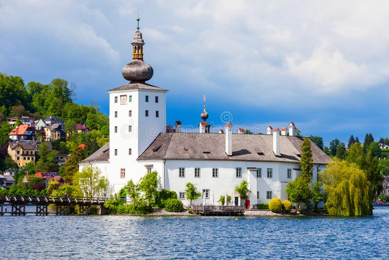 格蒙登Schloss Ort,奥地利 免版税库存图片
