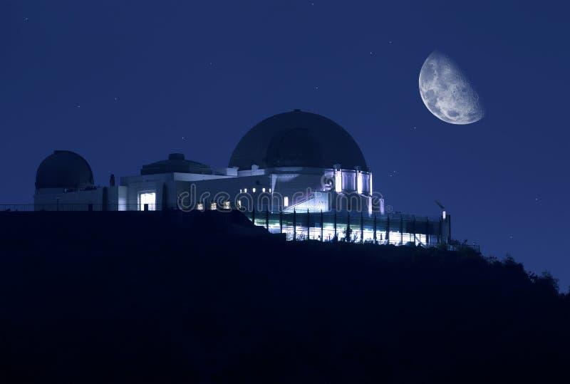 格里菲斯观测所在晚上 免版税库存图片