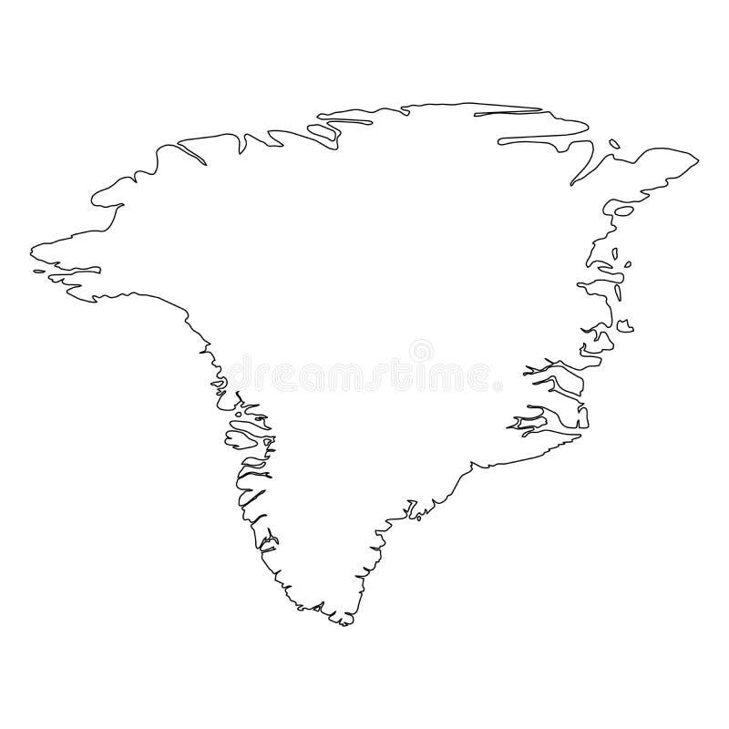 格陵兰-国家区域坚实黑概述边界地图  简单的平的传染媒介例证 向量例证